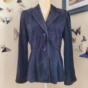 Badgley Mischka Dark Blue Suede Leather Blazer 8